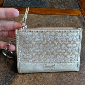 NWOT Coach Gold and Silver Card Holder/Wallet